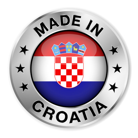 Made in Croatia silver badge and icon with central glossy Croatian flag symbol and stars   Vector