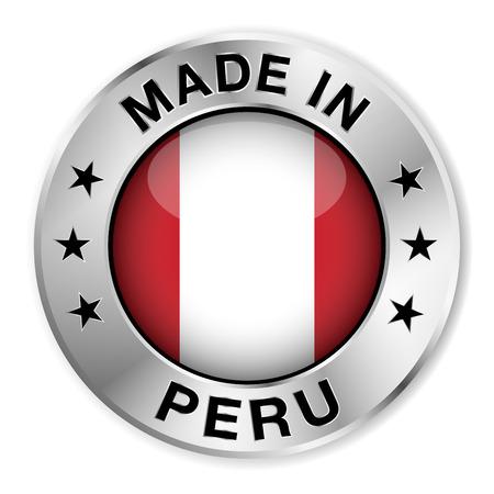 bandera de peru: Hecho en Perú insignia de plata y un icono con brillante símbolo de la bandera de Perú central y estrellas Vectores