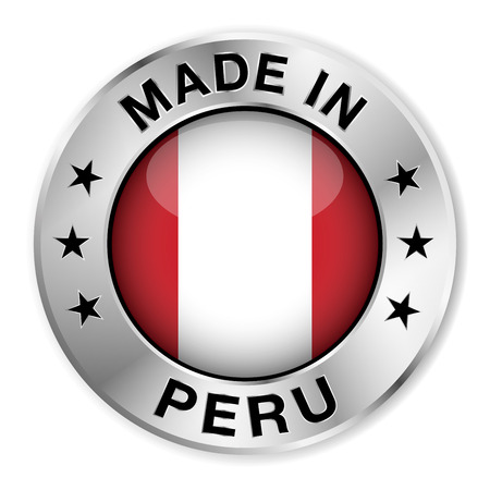 lima: Made in Peru silver badge and icon with central glossy Peruvian flag symbol and stars  Illustration