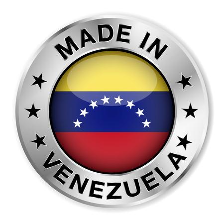 bandera de venezuela: Hecho en insignia de plata Venezuela y el icono con brillante s�mbolo de la bandera de Venezuela central y estrellas Vectores