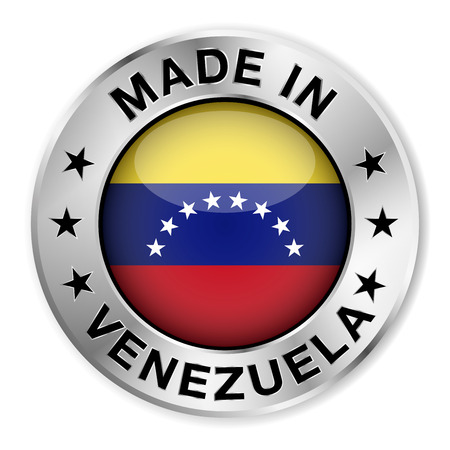 Made in Venezuela silver badge and icon with central glossy Venezuelan flag symbol and stars   Vector