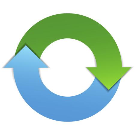 Zakelijke infographic ontwerpconcept met twee pijlen levenscyclus diagram EPS10 vector illustratie geïsoleerd op een witte achtergrond Stock Illustratie