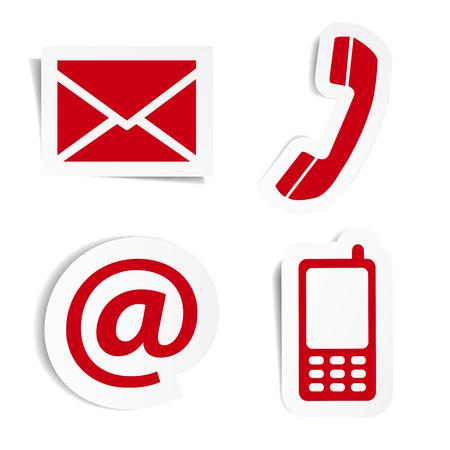 웹 사이트와 인터넷은 우리에게 흰색 배경에 고립 된 그림자 벡터 일러스트 스티커에 빨간색 아이콘을 설정 및 디자인 기호에 문의