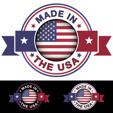 Made in The USA label and icon with ribbon and central glossy United States Of America flag symbol  Vector illustration with three different badge colors isolated on white and black background  Vector