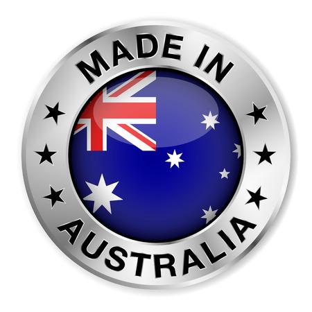 Gemaakt in Australië zilver badge en het pictogram met centrale glanzend Australische vlag symbool en sterren Vector EPS10 illustratie geïsoleerd op witte achtergrond