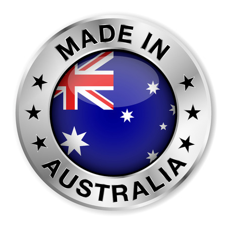 Made in Australia silver badge and icon with central glossy Australian flag symbol and stars  Vector EPS10 illustration isolated on white background  Ilustração