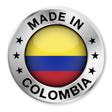 bandera de colombia: Hecho en Colombia insignia de plata y un icono con brillante s�mbolo de la bandera de Colombia central y las estrellas Ilustraci�n vectorial EPS10 aisladas sobre fondo blanco Vectores