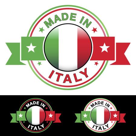Hecho en Italia etiqueta y el icono con la cinta y brillante italiana s�mbolo central de la bandera ilustraci�n vectorial EPS10 con tres diferentes colores insignia aislados sobre fondo blanco y negro