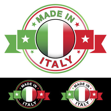 made in: Made in Italy label en het pictogram met lint en centrale glanzend Italiaanse vlag symbool Vector EPS10 illustratie met drie verschillende badge kleuren geïsoleerd op witte en zwarte achtergrond