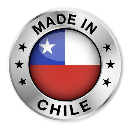 bandera chilena: Hecho en insignia de plata Chile y el icono con brillante símbolo de la bandera de Chile central y estrellas ilustración aislado sobre fondo blanco Vectores