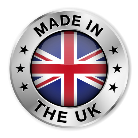 made in: Made in The UK silver badge and icon with central glossy United Kingdom flag symbol and stars