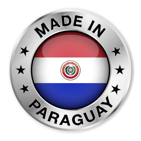 bandera de paraguay: Made in Paraguay insignia de plata y un icono con brillante símbolo de la bandera paraguaya central y las estrellas Ilustración vectorial EPS10 aisladas sobre fondo blanco