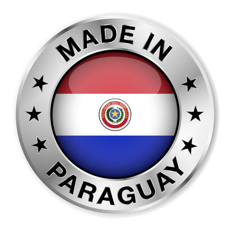 paraguay: Made in Paraguay silver badge and icon with central glossy Paraguayan flag symbol and stars  Vector EPS10 illustration isolated on white background