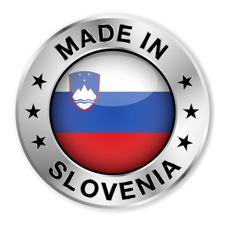 slovenian: Made in Slovenia silver badge and icon with central glossy Slovenian flag symbol and stars  Vector EPS10 illustration isolated on white background