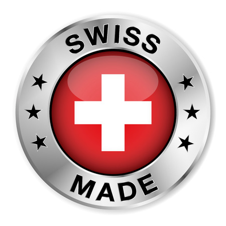 swiss flag: Swiss made silver badge and icon with central glossy Switzerland flag symbol and stars  Vector EPS10 illustration isolated on white background  Illustration