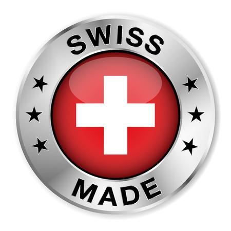 Swiss made zilveren badge en het pictogram met centrale glanzend Zwitserland vlag symbool en sterren Vector EPS10 illustratie geïsoleerd op witte achtergrond