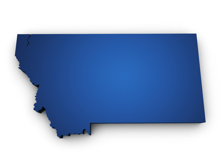 Shape 3d of Montana map colored in blue and isolated on white