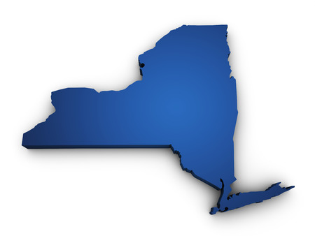 Shape 3d of New York State map colored in blue and isolated on white