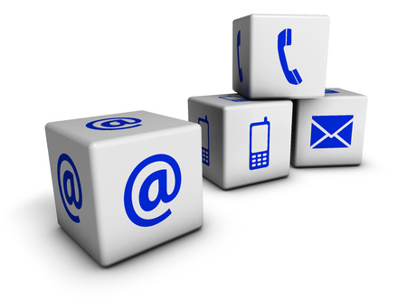 e business: Website and Internet contact us page concept with blue icons on cubes isolated on white