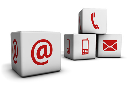 Website and Internet contact us page concept with red icons on cubes isolated on white  photo