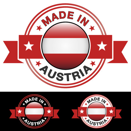 Made in Austria label and icon with ribbon and central glossy Austrian flag symbol   Vector