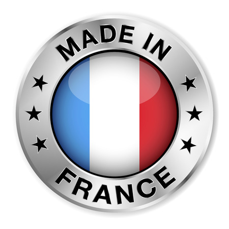 Made in France silver badge and icon with central glossy French flag symbol and stars   Vector