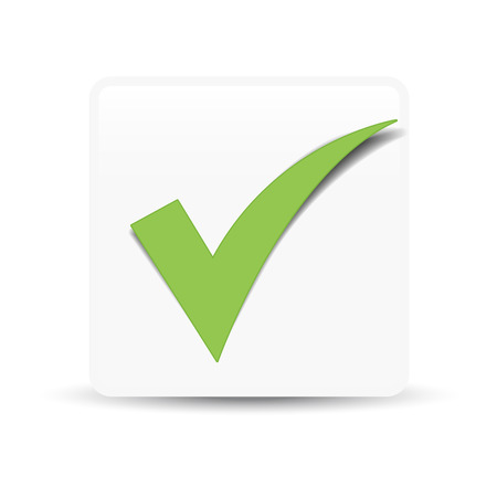 approved icon: Green check mark symbol and icon for approved design concept and web graphic on white background