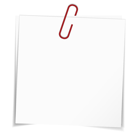 blank note: Business blank note paper for office, advertising and message with red paper clip and shadow isolated on white background
