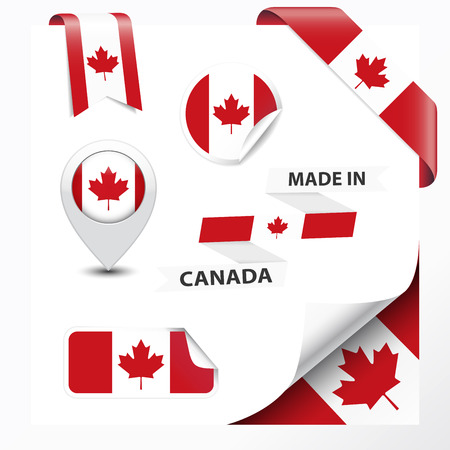 canadian icon: Made in Canada collection of ribbon, label, stickers, pointer, badge, icon and page curl with Canadian flag symbol on design element