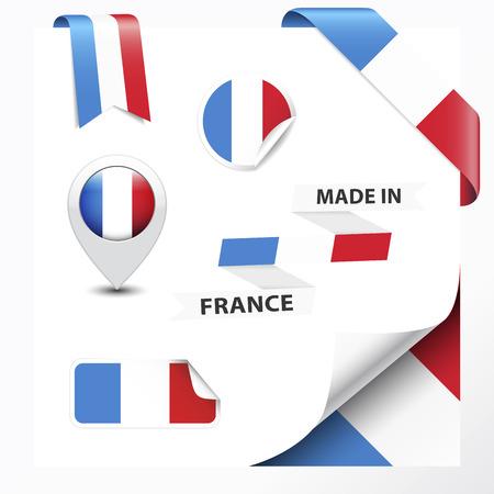 Made in France collezione di nastri, etichette, adesivi, puntatore, distintivo, icona e pagina curl con il simbolo bandiera francese Archivio Fotografico - 25331844