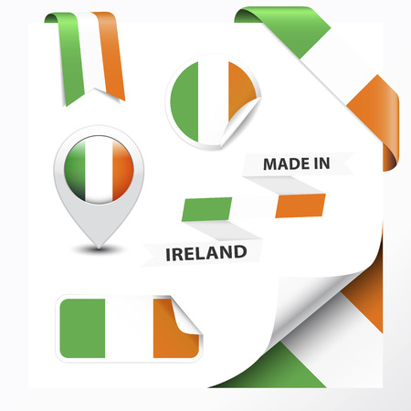 Made in Ireland collection of ribbon, label, stickers, pointer, badge, icon and page curl with Irish flag symbol on design element   Vector