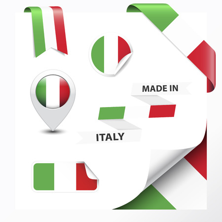 Made in Italy collection of ribbon, label, stickers, pointer, badge, icon and page curl with Italian flag symbol   Vector