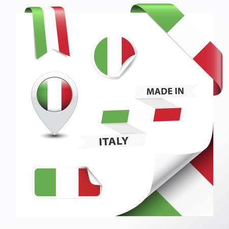 gemaakt: Made in Italy verzameling van lint, label, stickers, wijzer, kenteken, pictogram en pagina krullen met Italiaanse vlag symbool
