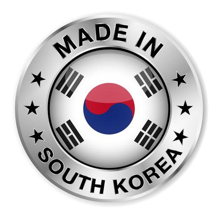 Hecho en insignia de plata de Corea del Sur y el icono con el símbolo brillante y las estrellas de la bandera de Corea del centro