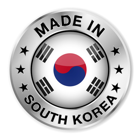 Made in South Korea silver badge and icon with central glossy Korean flag symbol and stars   Vector