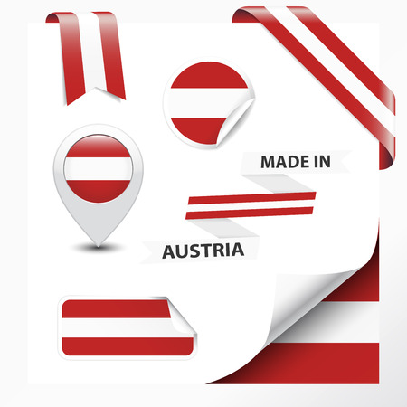 austrian flag: Made in Austria collection of ribbon, label, stickers, pointer, badge, icon and page curl with Austrian flag symbol on design element  Vector EPS10 illustration isolated on white background