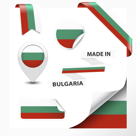 Made in Bulgaria collection of ribbon, label, stickers, pointer, badge, icon and page curl with Bulgarian flag symbol on design element  Vector EPS10 illustration isolated on white background