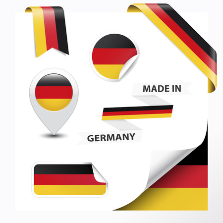 made in germany: Made in Germany collection of ribbon, label, stickers, pointer, badge, icon and page curl with German flag symbol on design element  Vector EPS10 illustration isolated on white background