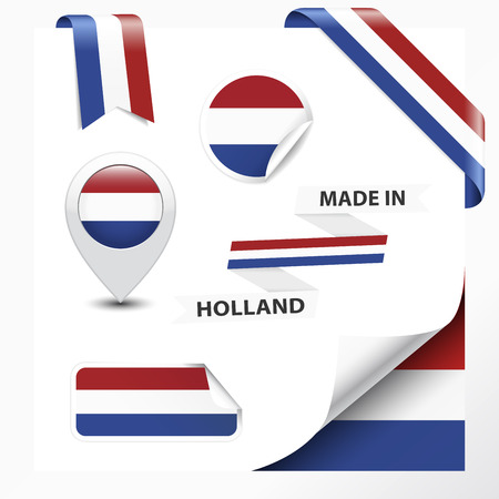 made in netherlands: Made in Holland collection of ribbon, label, stickers, pointer, badge, icon and page curl with Netherlands flag symbol on design element  Vector EPS10 illustration isolated on white background