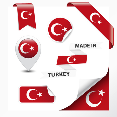 turkish flag: Made in Turkey collection of ribbon, label, stickers, pointer, badge, icon and page curl with Turkish flag symbol on design element  Vector EPS10 illustration isolated on white background