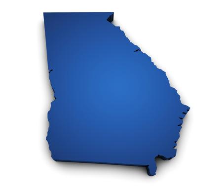 ジョージア州地図青色に、白い背景で隔離の 3 d を形状します。 写真素材