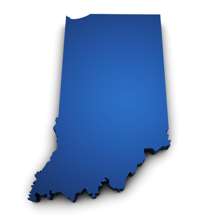 Shape 3d of Indiana State map colored in blue and isolated on white background