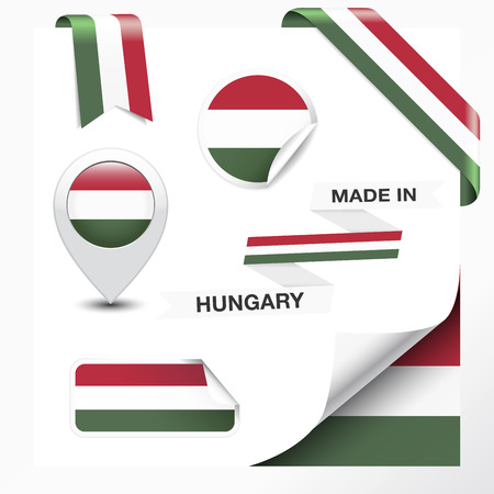 hungarian: Made in Hungary collection of ribbon, label, stickers, pointer, badge, icon and page curl with Hungarian flag symbol on design element. Vector EPS10 illustration isolated on white background. Illustration