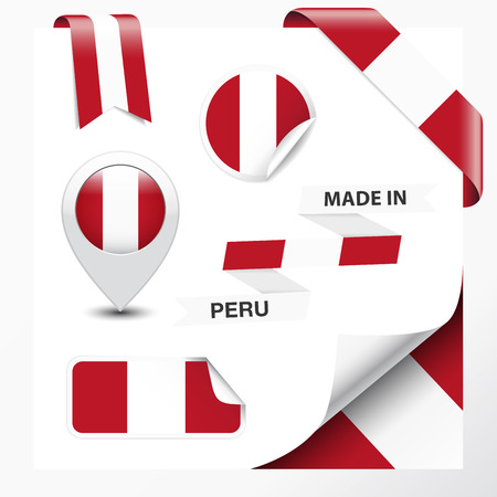 Made in Peru collection of ribbon, label, stickers, pointer, badge, icon and page curl with Peruvian flag symbol on design element. Vector EPS10 illustration isolated on white background.