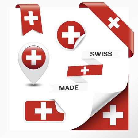 сделанный: Сделано в Швейцарии коллекции лентой, этикетки, наклейки, указатель, значок, значок и страницы локон со швейцарским флагом символ на элемент дизайна. Вектор EPS10 иллюстрации, изолированных на белом фоне.