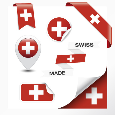 Made in Switzerland collection of ribbon, label, stickers, pointer, badge, icon and page curl with Swiss flag symbol on design element. Vector EPS10 illustration isolated on white background.