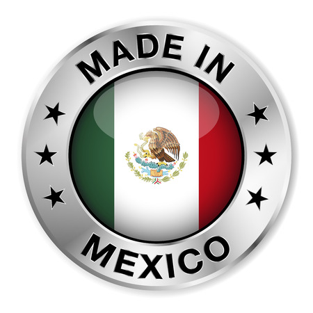 Made in Mexico silver badge and icon with central glossy Mexican flag symbol and stars   Vector
