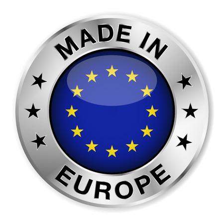 Made in Europe Silberabzeichen und Symbol mit zentralen europäischen glänzend Flaggensymbol und Sterne Illustration