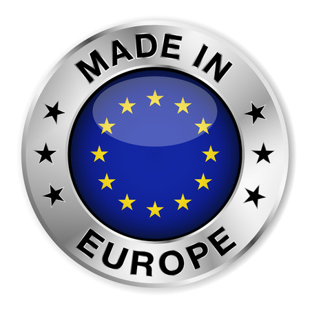 eu flag: Made in Europe silver badge and icon with central glossy European flag symbol and stars