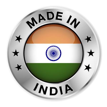 bandera de LA INDIA: Hecho en insignia de plata de la India y el icono con el brillante símbolo de la bandera de la India central y estrellas